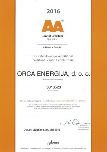 Bonität Exzellenz AA Orca Energija